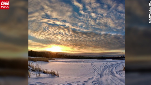 While on the Fisherman's Point Campground in Hoyt Lakes, Minnesota, <a href='http://ireport.cnn.com/docs/DOC-931994' target='_blank'>Jeannie Little</a> captured this picturesque shot on Instagram while scouting for the perfect snowflake.