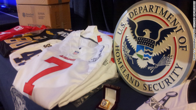 Fake jerseys, hats, T-shirts, jackets and other souvenirs were among the items seized in 