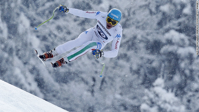 Christof Innerhofer became the second Italian skier to win three races in a World Cup season as he triumphed in the men's downhill in Garmisch-Partenkirchen, Germany. 