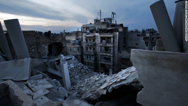 Damaged houses in Aleppo are seen after an airstrike on November 29.