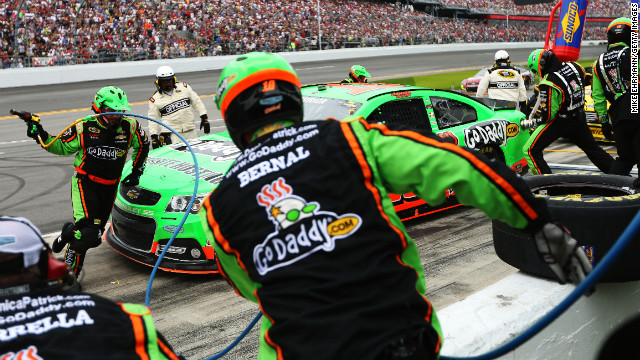 No. 10 Danica Patrick pits during the Daytona 500. She made history when she became the first woman to secure the pole position for the race.