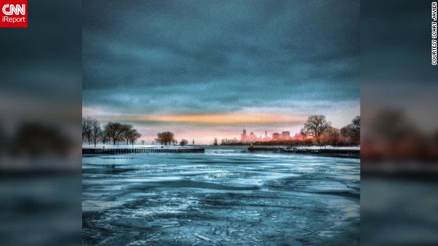 "<a href='http://ireport.cnn.com/docs/DOC-931991' target='_blank'>Scart Javier</a> shot this photo using Instagram on Chicago's Lakefront Trail. ""I felt amazed to see the frozen lake,"" she said. ""It's look so calm and mysterious at the same time."""