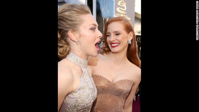 Amanda Seyfried, left, and Jessica Chastain