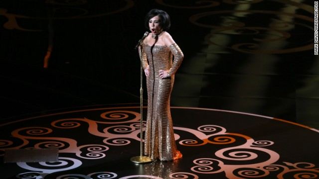Dame Shirley Bassey performs &quot;Goldfinger&quot; during a tribute to the James Bond franchise.