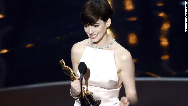 &lt;strong&gt;Anne Hathaway, best supporting actress:&lt;/strong&gt; As Anne Hathaway accepted her first Oscar win for her work in &quot;Les Miserables,&quot; the 30-year-old actress looked down at her statue and said, &quot;It came true.&quot; After thanking everyone from her friends and family to the cast and crew of &quot;Les Mis,&quot; Hathaway was also sure to thank her husband. &quot;By far the greatest moment of my life was when you walked into it.&quot; 