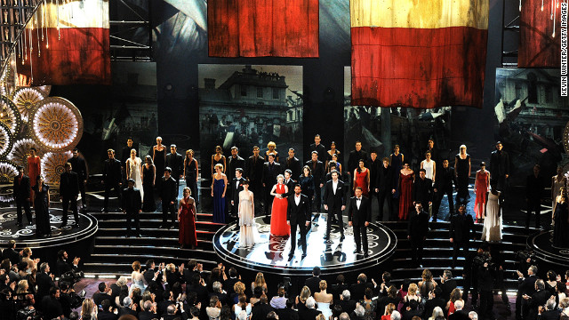 The cast of &quot;Les Miserables&quot; performs during the Oscars ceremony.