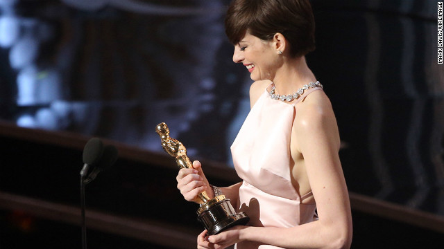 &quot;Les Miserables&quot; actress Anne Hathaway accepts the award for best supporting actress.