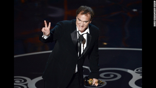 """Django Unchained"" writer/director Quentin Tarantino accepts the award for best original screenplay. ""It's the writer's year man,"" he said. ""Peace out."""
