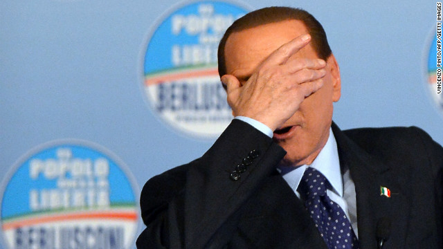 Prime Minister Silvio Berlusconi delivers a speech during a campaign rally in Rome on January 25, 2013.