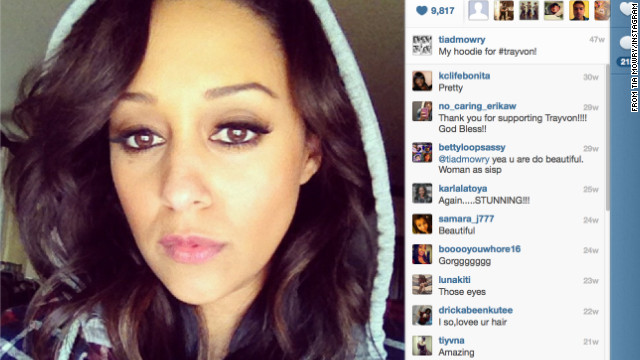 Actress Tia Mowry posted this photo on her Instagram account, writing, &quot;My hoodie for #trayvon!&quot;