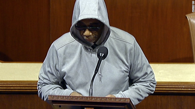 Rep. Bobby Rush Il wore a hooded sweatshirt on the floor of the House on Capitol Hill on March 28 during a speech deploring the killing of Trayvon Martin. He received a reprimand for violating rules on wearing hats in the House chamber.