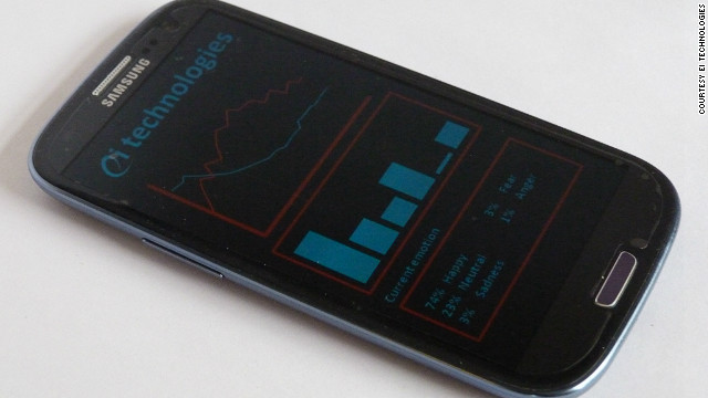 The Xpression app phone display, with the bottom box detailing the emotion analyzed as present in the speech sample.