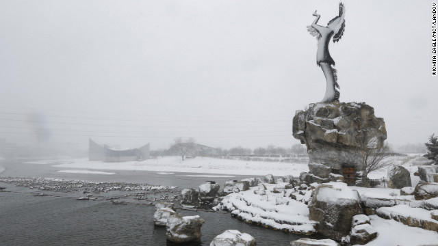 The &quot;Keeper of the Plains&quot; statue is blanketed with snow in Wichita, Kansas, on February 25. 