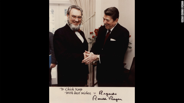 A photograph signed by President Reagan contains the inscription &quot;To Chick Koop, With Best Wishes.&quot; Chick, from chicken coop, was the nickname Koop earned while attending Dartmouth College in the mid-1930s. Koop maintained a cordial relationship with Reagan despite his disappointment over Reagan's refusal to address the growing AIDS epidemic.