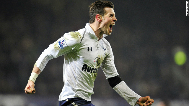 Gareth Bale celebrates his stunning last-minute goal as Spurs come from behind to win 3-2 at West Ham