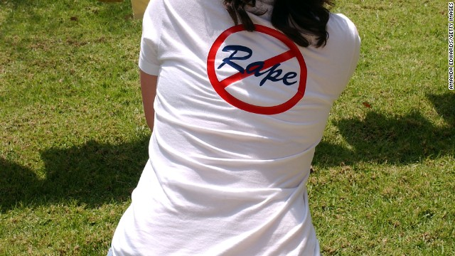  A student wears her message during a high school campus protest against sexual assault in 2004.