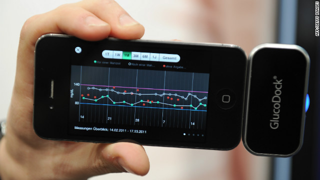 GlucoDock plugs into an iPhone and allows users to check bloodsugar levels on the go. For diabetics, the device can keep a diary of bloodsugar levels before and after meals, and directly provide feedback and analysis.