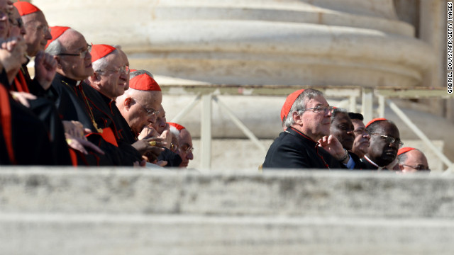Cardinals listen to the pope.