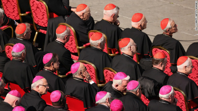 Archbishops and cardinals sit in St. Peter's Square. The pope used his last general audience to call for a renewal of faith and speak of his own spiritual journey through eight years as leader of the world's 1.2 billion Catholics.