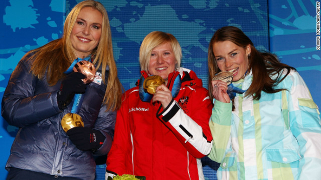 Maze and Lindsey Vonn flank Austrian gold medalist Andrea Fischbacher at the medal ceremony for the super-G at the 2010 Winter Olympics in Vancouver. Maze also won silver in the giant slalom.