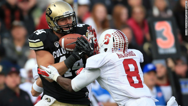 Nick Kasa plays for Colorado against Stanford last November. Kasa says an NFL team asked him an inappropriate question.