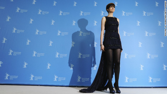 Hathaway strikes a pose at the Berlin International Film Festival in February 2013.