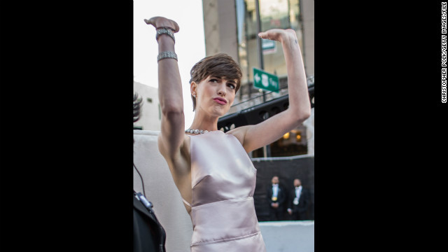Hathaway arrives at the Oscars in Hollywood on February 24.