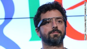 Google co-founder Sergey Brin models the connected headset, which isn\'t expected to go on sale until late this year.