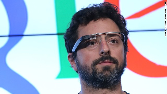 Google co-founder Sergey Brin wears a pair of Google Glass.