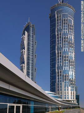 Neither comes close to being the tallest hotel building in the world, however. That title is taken by the 1,164-foot JW Marriott Marquis in Dubai (pictured), which stands 86 feet shorter than the Empire State Building.