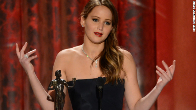 Lawrence always seems to keep it genuine and fun with her acceptance speeches. Seen here receiving the award for outstanding performance by a female actor in a leading role for &quot;Silver Linings Playbook&quot; at the 2013 Screen Actors Guild Awards &lt;a href='http://www.youtube.com/watch?v=c4-m95OXG-I' target='_blank'&gt;she thanked SAG for the naked statue and called Harvey Weinstein a rascal.&lt;/a&gt;