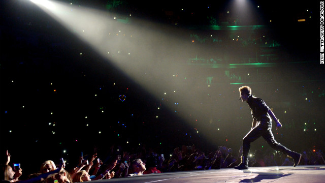 The Biebs has a knack for concert mishaps. He managed to <a href='http://marquee.blogs.cnn.com/2012/06/01/justin-bieber-runs-into-glass-again-vows-revenge/'>run into a wall of glass backstage</a> in Paris in June 2012, and in the fall of that year, <a href='http://marquee.blogs.cnn.com/2012/10/01/bieber-gets-sick-on-stage-milk-was-a-bad-choice/'>he got sick onstage</a> before moving on with his performance in Glendale, Arizona. Here he performs at the Staples Center in Los Angeles in October 2012.