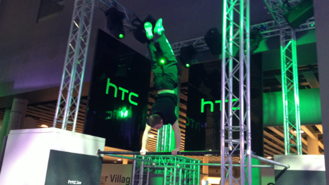 In the absence of any new phones, HTC offered acrobatic Parkour displays.
