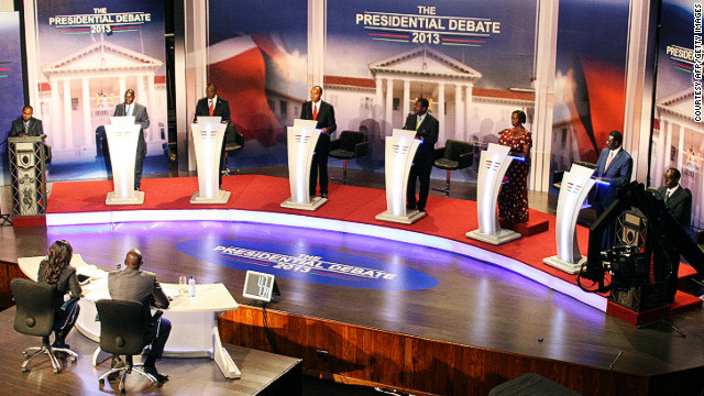 Kenya's eight presidential candidates are pictured during the first ever officially televised election debate in Nairobi on February 11, 2013.