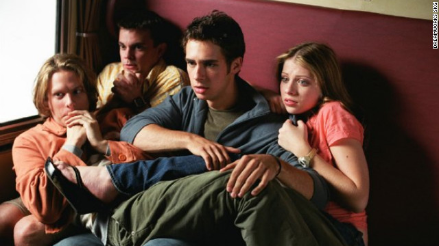 "Scott Mechlowicz, second from right, Jacob Pitts, left, Michelle Trachtenberg, right, and Travis Wester play four friends on a European adventure the summer before college in ""EuroTrip."" Matt Damon makes a cameo as a musician, introducing the film's catchy theme song,<a href='http://www.youtube.com/watch?v=0Vyj1C8ogtE' target='_blank'> ""Scotty Doesn't Know.""</a>"