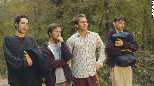 When Breckin Meyer's Josh Parker, second from left, accidentally sends his long-distance girlfriend an incriminating tape, he and his buds drive across the country to retrieve it in Todd Phillips' &quot;Road Trip.&quot; Paulo Costanzo, left, Seann William Scott, DJ Qualls and Tom Green, not pictured, also star.