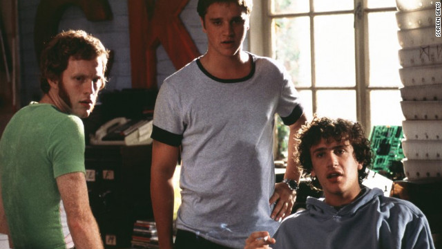 Michael C. Maronna, left, Devon Sawa, center, and Jason Segel star as resourceful cheaters in Dewey Nicks' &quot;Slackers.&quot; But when the men are found out by Jason Schwartzman's &lt;a href='http://www.youtube.com/watch?v=tZ9vcNJ_Ros' target='_blank'&gt;Cool Ethan&lt;/a&gt;, they're forced to set him up with the prettiest girl in school (Jaime King) to keep him from outing them to the administration.