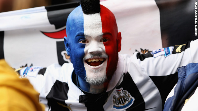 A Newcastle fan shows his support for the club's French foreign legion at the club's home game against Southampton in February.