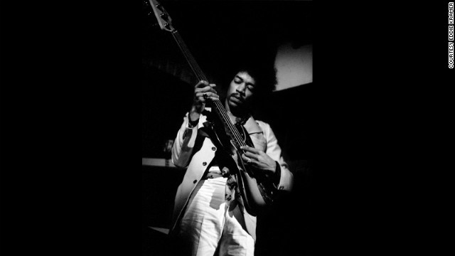 "<strong>Hendrix jams at The Scene club in New York in 1968:</strong><!-- --> </br>""Jimi showing his prowess as an all-round musician playing Noel (Redding)'s bass upside down accompanying jazz guitarist Larry Coryell at The Scene club, which he used as his own personal rehearsal space trying out new ideas, testing musicians and making selections for possible inclusion in the recording of 'Electric Ladyland' just around the corner at the Record Plant on 44th Street."" --<i> Eddie Kramer</i>"