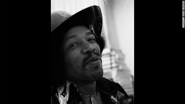 "<strong>Hendrix records ""Electric Ladyland"" at the Record Plant in 1968:</strong><!-- --> </br>""Even though Jimi smoked grass he was never too stoned to work diligently and with tremendous focus on the task at hand. He had just smoked a huge joint and was very happy and gave me a knowing smile, which I call the glint in the eye."" --<i> Eddie Kramer</i>"