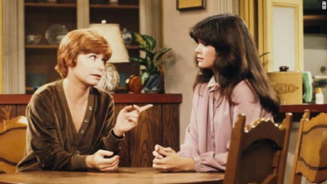"Bonnie Franklin, left, played beloved TV mom Ann Romano on CBS' ""One Day at a Time."" She's pictured here lecturing Valerie Bertinelli's Barbara Cooper, one of Romano's two teenage daughters on the show, which ran from 1975 to 1984."