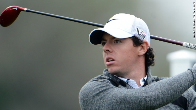 McIlroy looks pensive as he tees off on the 16th where he ran up a triple bogey seven to derail his Honda Classic title defense.
