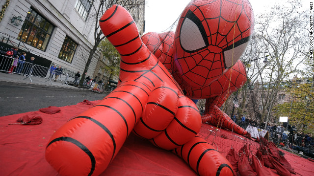 The Spider-Man balloon is getting prepared for the Macy's Thanksgiving Day Parade in New York City. 