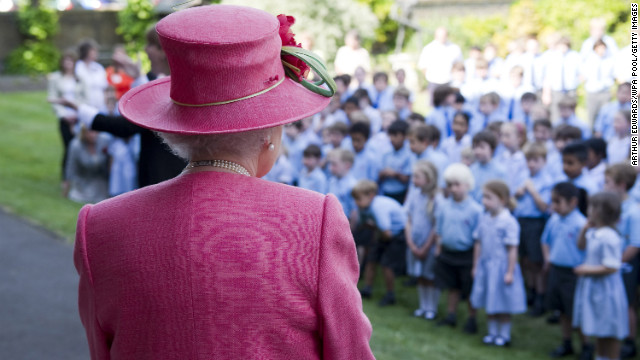 Elizabeth visits St. George's School in Windsor, England, in May 2011.