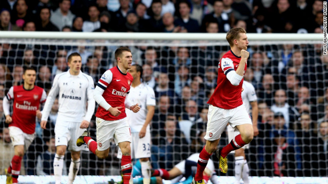 Per Mertesacker endured a dismal opening half, but it was his header which helped Arsenal force its way back into the game six minutes after interval. The German rose to meet Theo Walcott's free-kick and his effort took a deflection off Bale's head and soared into the corner.