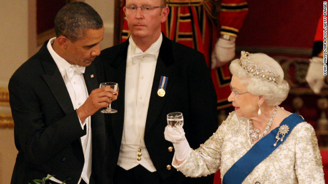 U.S. President Barack Obama toasts with Elizabeth during a state banquet at Buckingham Palace in May 2011.