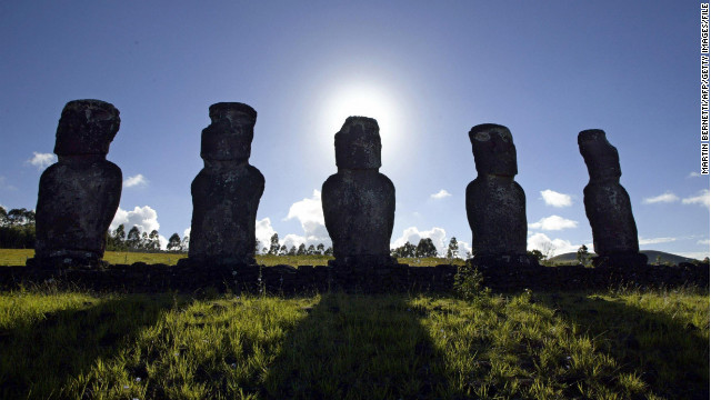 Easter Island's Moai statues played a role in some sultry swimsuit shots in Chile.