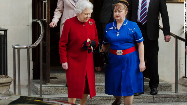 Queen Elizabeth leaves King Edward II Hospital on Monday, March 4, 2013 in London, England. The Queen left the hospital and returned to Buckingham Palace after being admitted on Sunday with symptoms of gastroenteritis as a precautionary measure.