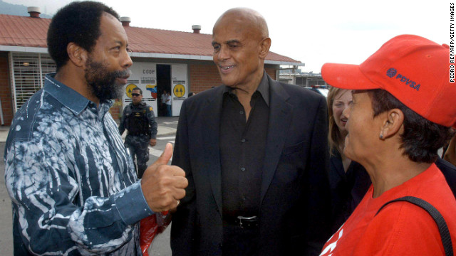 In 2006, singer Harry Belafonte, a longtime activist, appeared in Venezuela with Hugo Chavez and made controversial statements about President George W. Bush: &quot;No matter what the greatest tyrant in the world, the greatest terrorist in the world, George W. Bush says, we're here to tell you: Not hundreds, not thousands, but millions of the American people support your revolution.&quot; Belafonte, center, speaks with residents of a low-income neighborhood in Caracas before meeting Chavez in January 2005.