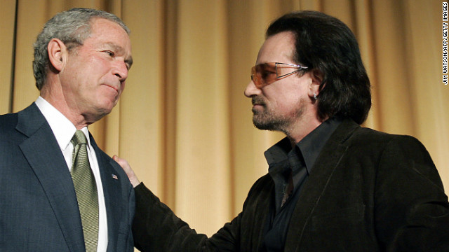 U2 frontman Bono, who was named the most politically effective celebrity of all time by the National Journal, has campaigned for third-world debt relief since 1999. In March 2002, he appeared next to President George W. Bush for the unveiling of a $5 billion aid package for the world's poorest countries. The two also attended the National Prayer Breakfast in Washington in February 2006, seen here.